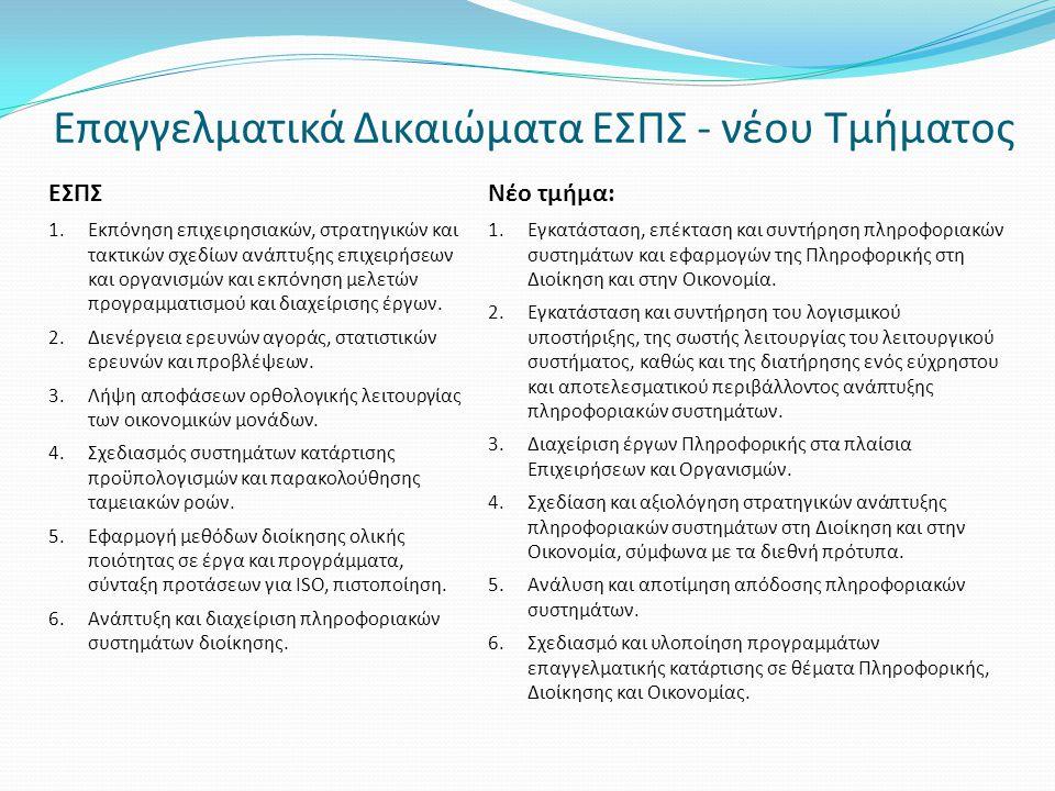Επαγγελματικά Δικαιώματα ΕΣΠΣ - νέου Τμήματος