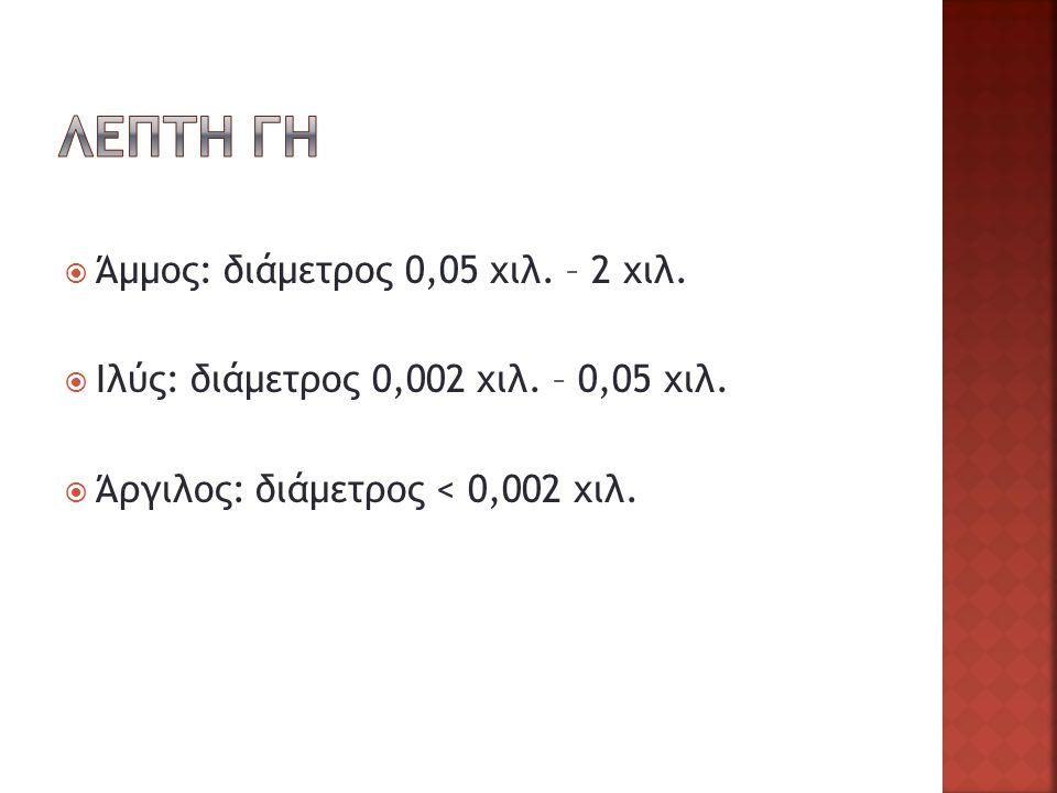 Λεπτη γη Άμμος: διάμετρος 0,05 χιλ. – 2 χιλ.