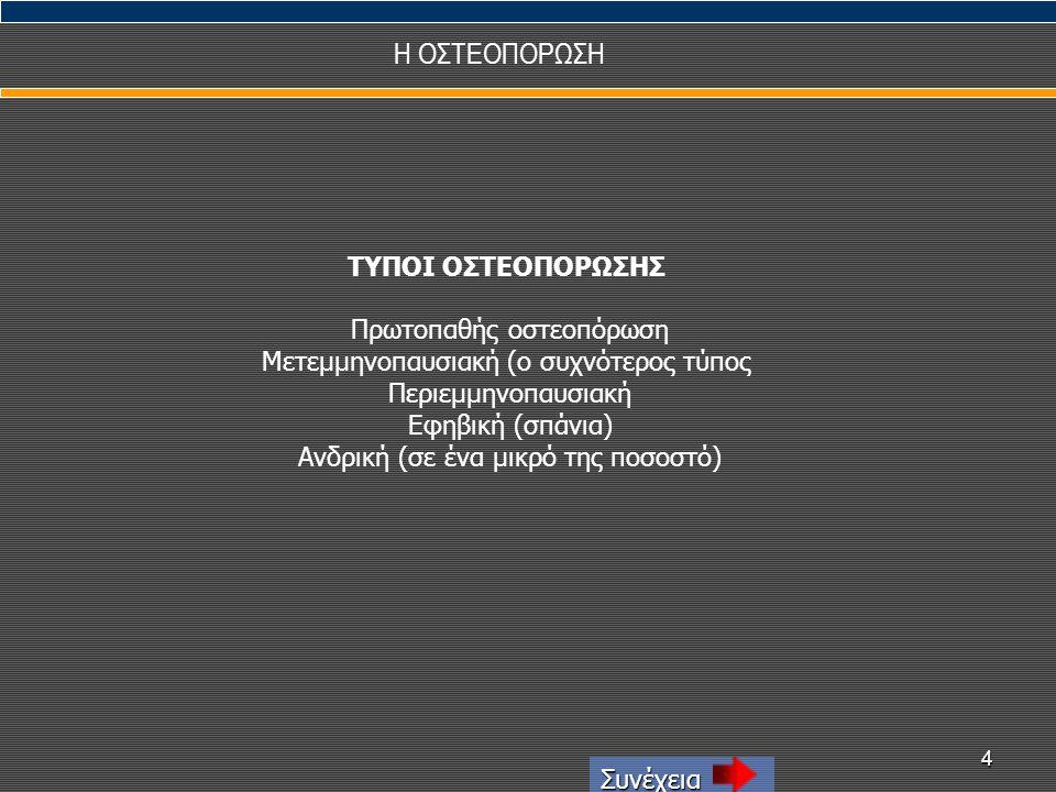 Η ΟΣΤΕΟΠΟΡΩΣΗ ΤΥΠΟΙ ΟΣΤΕΟΠΟΡΩΣΗΣ Πρωτοπαθής οστεοπόρωση