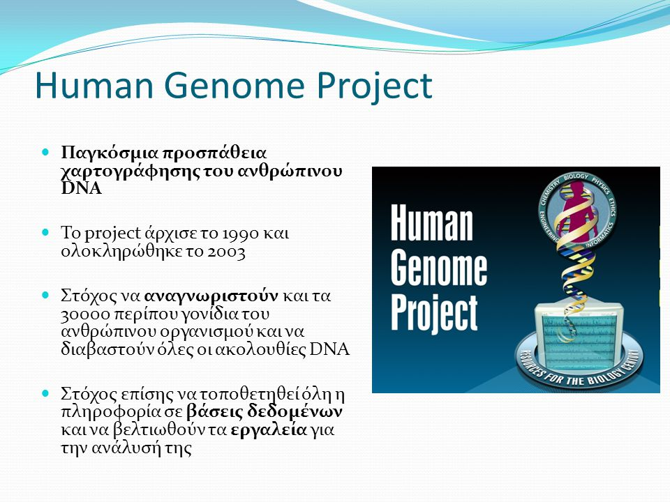 Human Genome Project Παγκόσμια προσπάθεια χαρτογράφησης του ανθρώπινου DNA. To project άρχισε το 1990 και ολοκληρώθηκε το 2003.