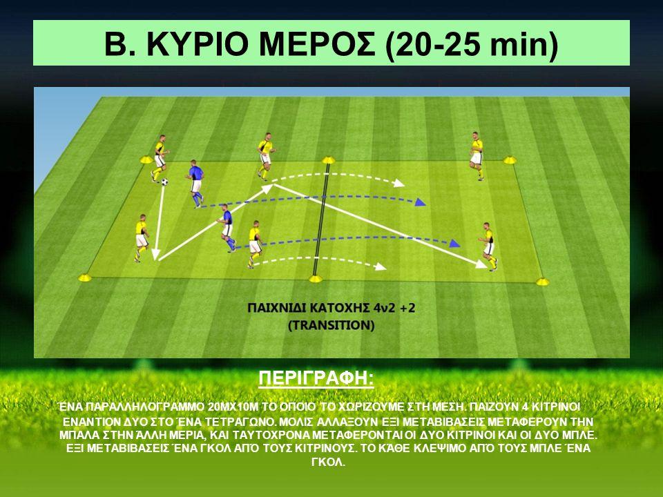 Β. ΚΥΡΙΟ ΜΕΡΟΣ (20-25 min) ΠΕΡΙΓΡΑΦΗ: