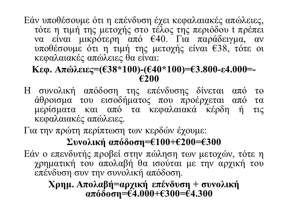 Kεφ. Απώλειες=(€38*100)-(€40*100)=€3.800-ε4.000=-€200