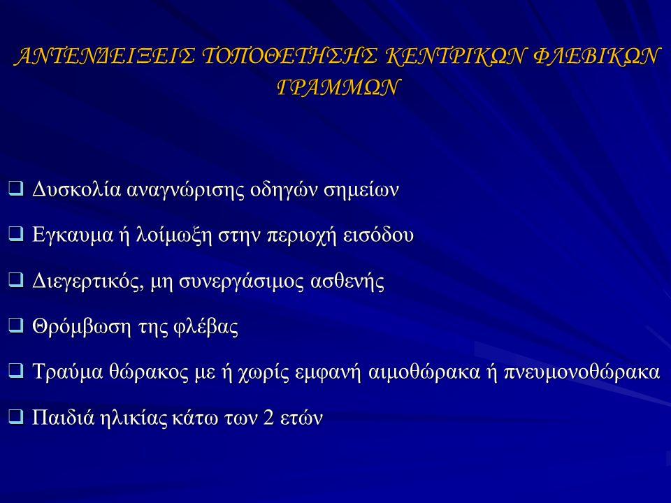 ΑΝΤΕΝΔΕΙΞΕΙΣ ΤΟΠΟΘΕΤΗΣΗΣ ΚΕΝΤΡΙΚΩΝ ΦΛΕΒΙΚΩΝ ΓΡΑΜΜΩΝ