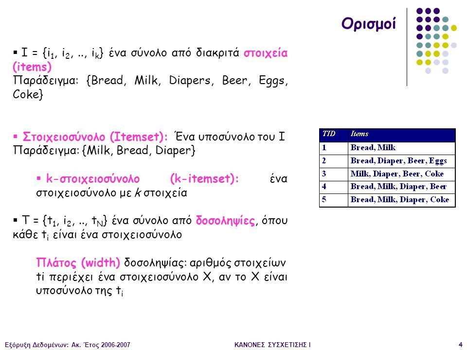Ορισμοί Ι = {i1, i2, .., ik} ένα σύνολο από διακριτά στοιχεία (items)