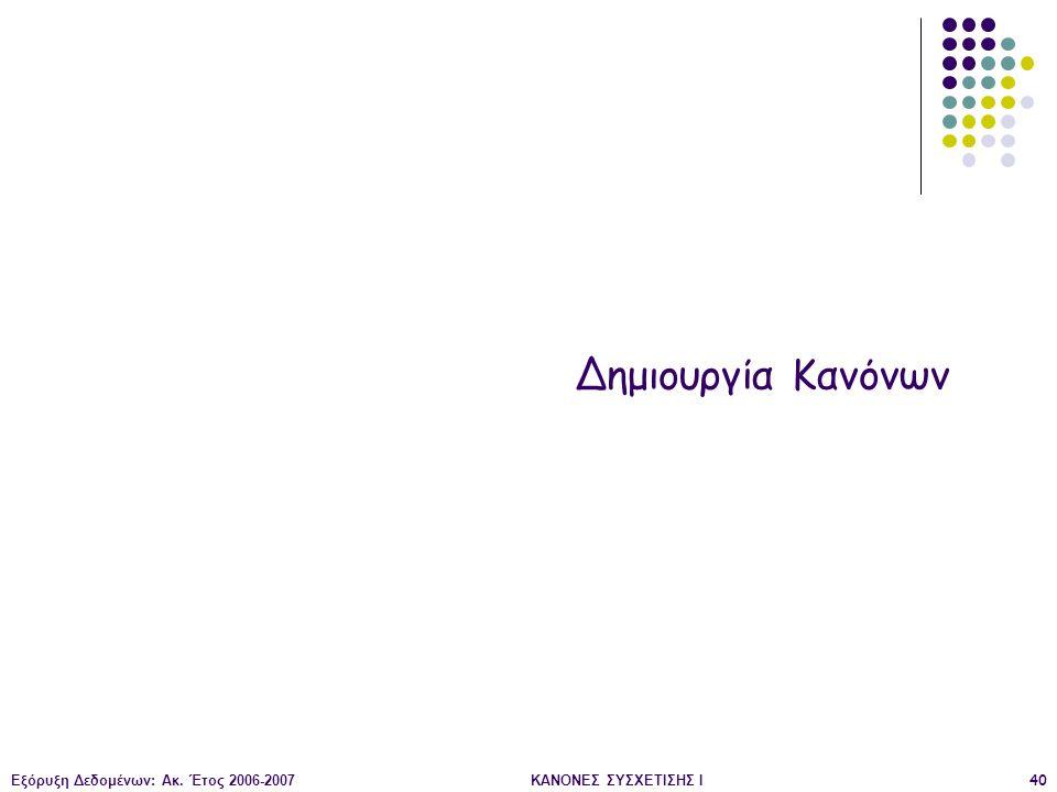Δημιουργία Κανόνων Εξόρυξη Δεδομένων: Ακ. Έτος 2006-2007