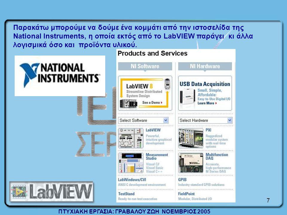 Παρακάτω μπορούμε να δούμε ένα κομμάτι από την ιστοσελίδα της National Instruments, η οποία εκτός από το LabVIEW παράγει κι άλλα λογισμικά όσο και προϊόντα υλικού.
