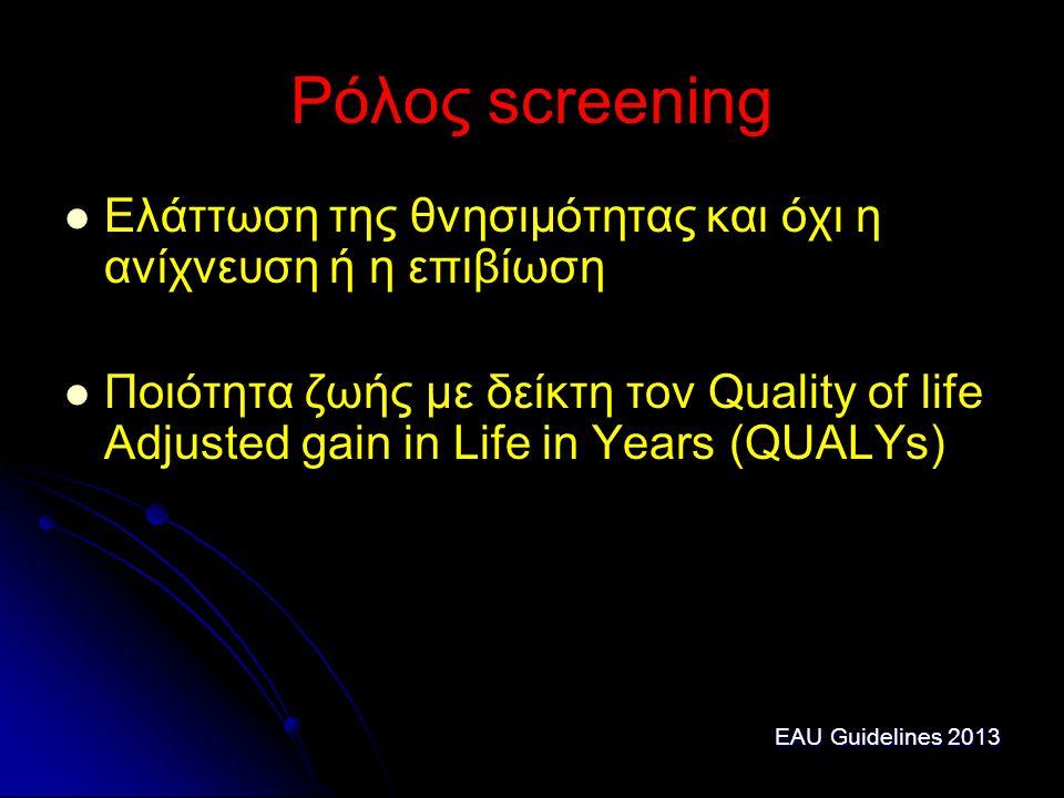 Ρόλος screening Ελάττωση της θνησιμότητας και όχι η ανίχνευση ή η επιβίωση.