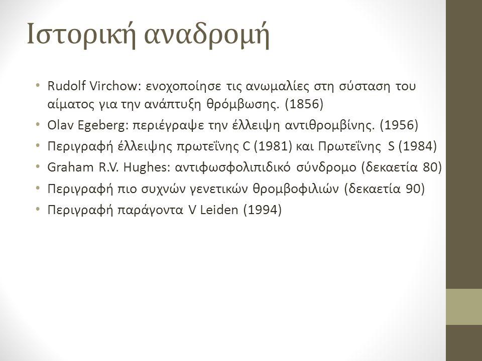 Ιστορική αναδρομή Rudolf Virchow: ενοχοποίησε τις ανωμαλίες στη σύσταση του αίματος για την ανάπτυξη θρόμβωσης. (1856)