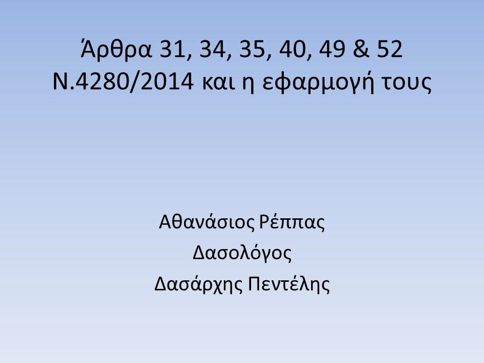 Άρθρα 31, 34, 35, 40, 49 & 52 Ν.4280/2014 και η εφαρμογή τους