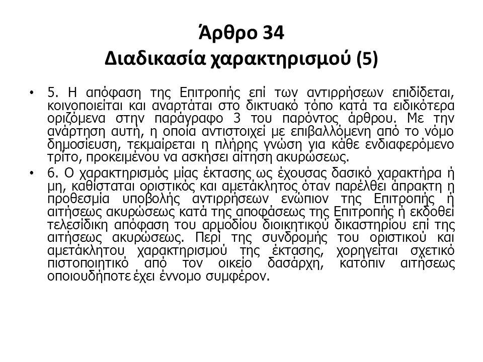 Άρθρο 34 Διαδικασία χαρακτηρισμού (5)