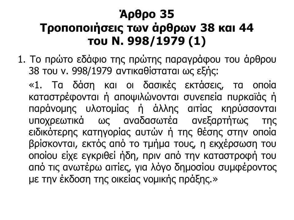Άρθρο 35 Τροποποιήσεις των άρθρων 38 και 44 του Ν. 998/1979 (1)