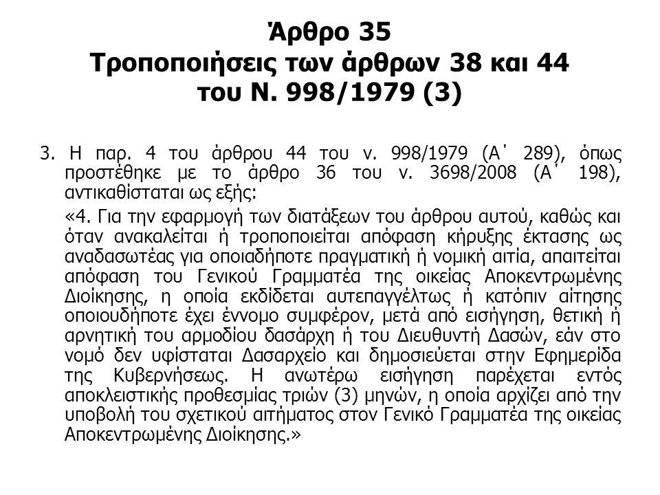 Άρθρο 35 Τροποποιήσεις των άρθρων 38 και 44 του Ν. 998/1979 (3)