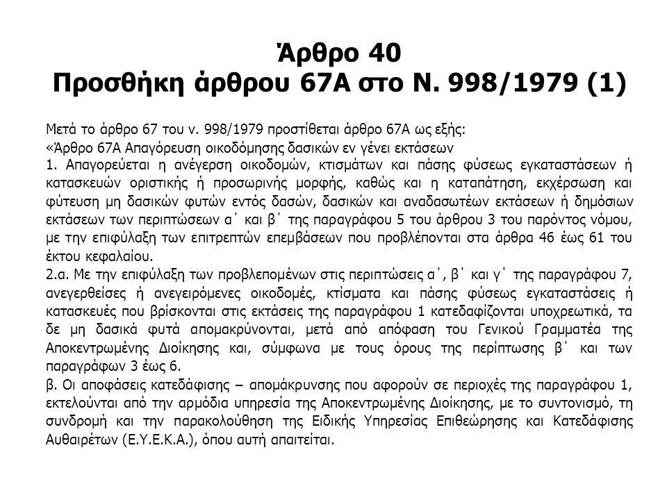Άρθρο 40 Προσθήκη άρθρου 67Α στο Ν. 998/1979 (1)