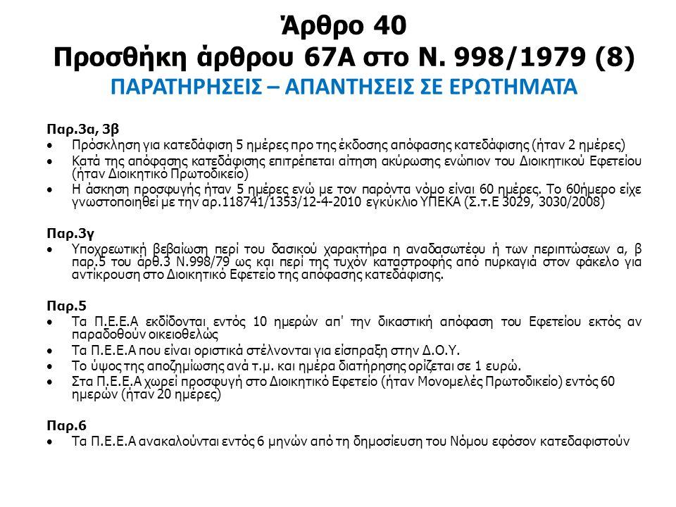 Άρθρο 40 Προσθήκη άρθρου 67Α στο Ν