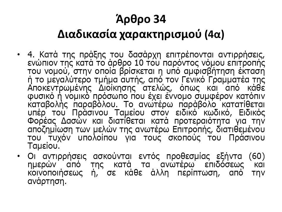 Άρθρο 34 Διαδικασία χαρακτηρισμού (4α)