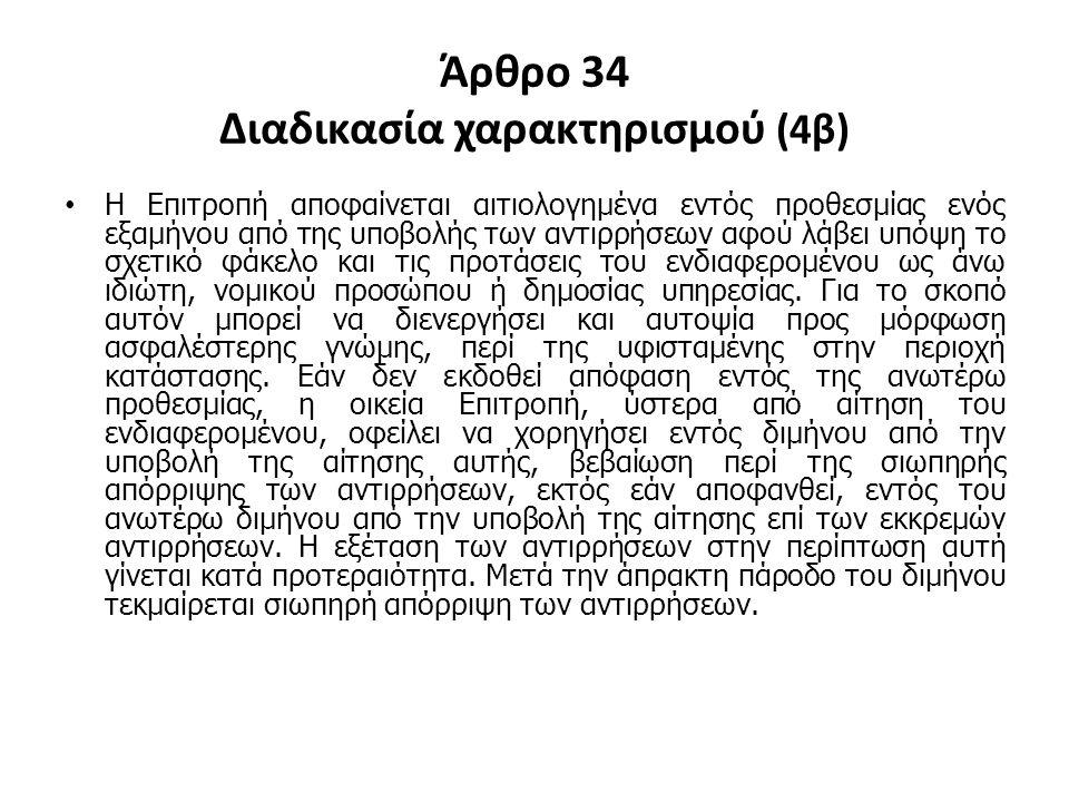 Άρθρο 34 Διαδικασία χαρακτηρισμού (4β)