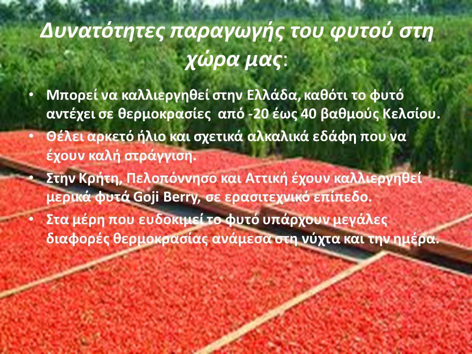 Δυνατότητες παραγωγής του φυτού στη χώρα μας: