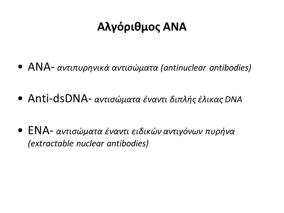 Αλγόριθμος ΑΝΑ ANA- αντιπυρηνικά αντισώματα (antinuclear antibodies) Anti-dsDNA- αντισώματα έναντι διπλής έλικας DNA.