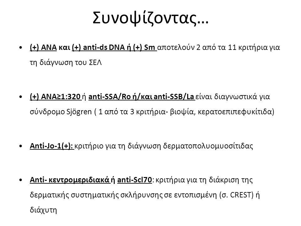 Συνοψίζοντας… (+) ΑΝΑ και (+) anti-ds DNA ή (+) Sm αποτελούν 2 από τα 11 κριτήρια για τη διάγνωση του ΣΕΛ.