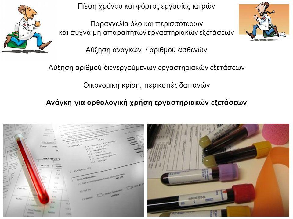 Ανάγκη για ορθολογική χρήση εργαστηριακών εξετάσεων