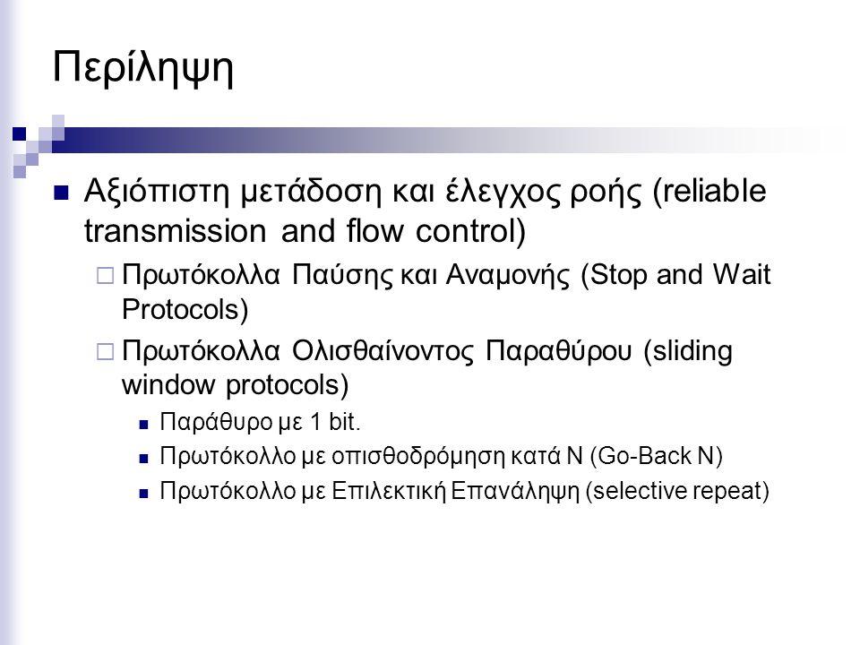 Περίληψη Αξιόπιστη μετάδοση και έλεγχος ροής (reliable transmission and flow control) Πρωτόκολλα Παύσης και Αναμονής (Stop and Wait Protocols)