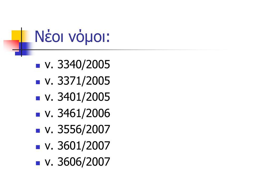 Νέοι νόμοι: ν. 3340/2005. ν. 3371/2005. ν. 3401/2005. ν. 3461/2006. ν. 3556/2007. ν. 3601/2007.
