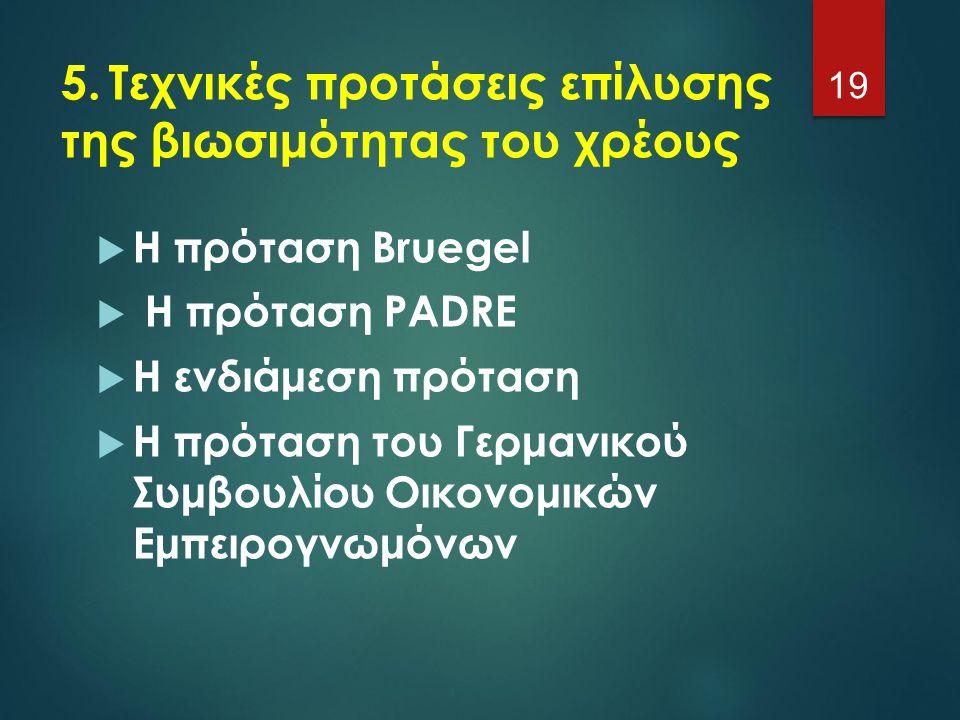 5. Τεχνικές προτάσεις επίλυσης της βιωσιμότητας του χρέους