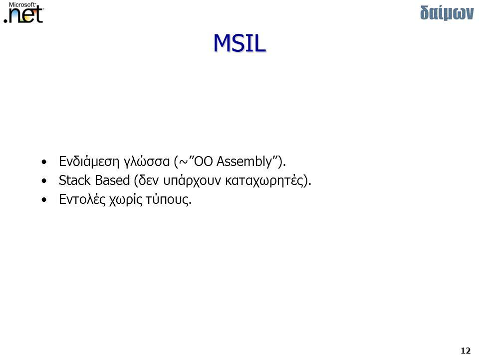 MSIL Ενδιάμεση γλώσσα (~ OO Assembly ).