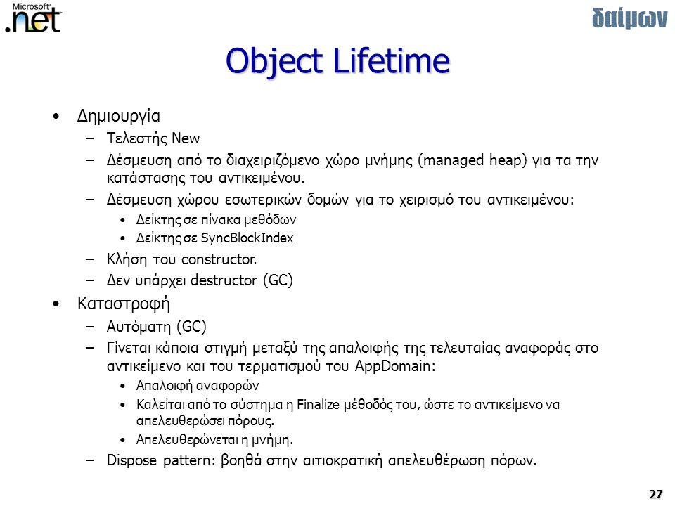 Object Lifetime Δημιουργία Καταστροφή Τελεστής New