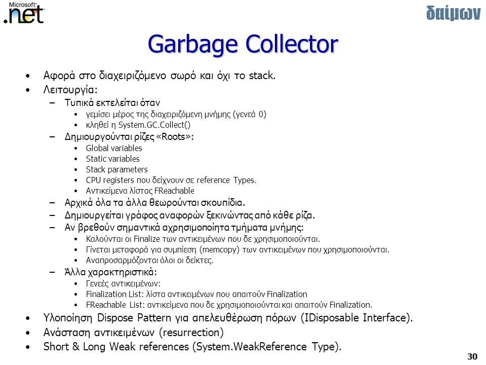 Garbage Collector Αφορά στο διαχειριζόμενο σωρό και όχι το stack.