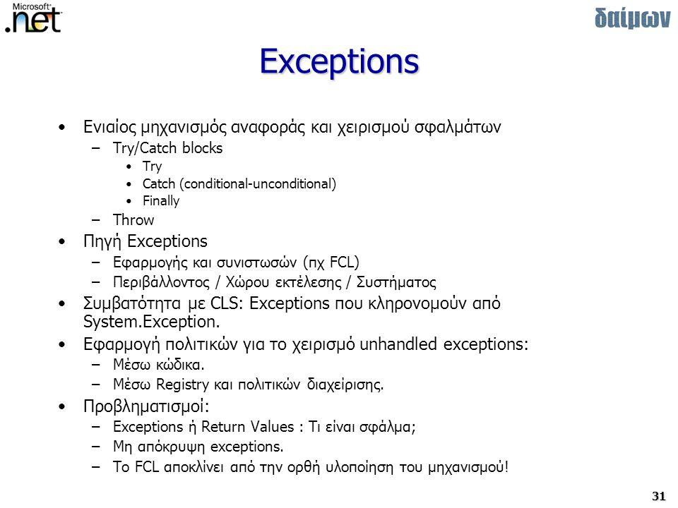 Exceptions Ενιαίος μηχανισμός αναφοράς και χειρισμού σφαλμάτων