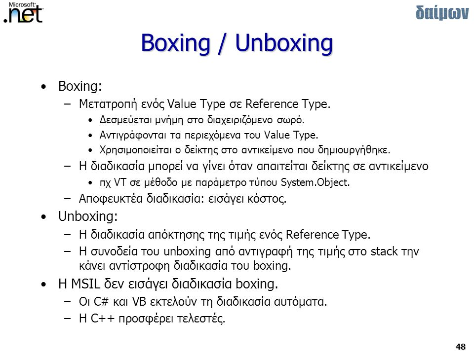 Boxing / Unboxing Boxing: Unboxing: