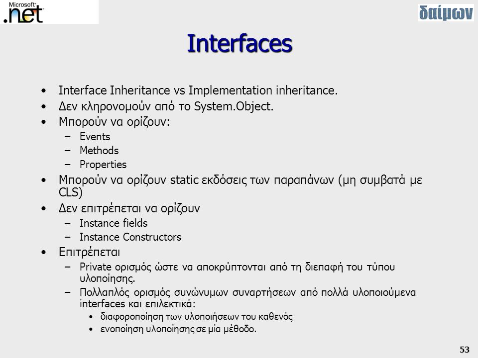 Interfaces Interface Inheritance vs Implementation inheritance.
