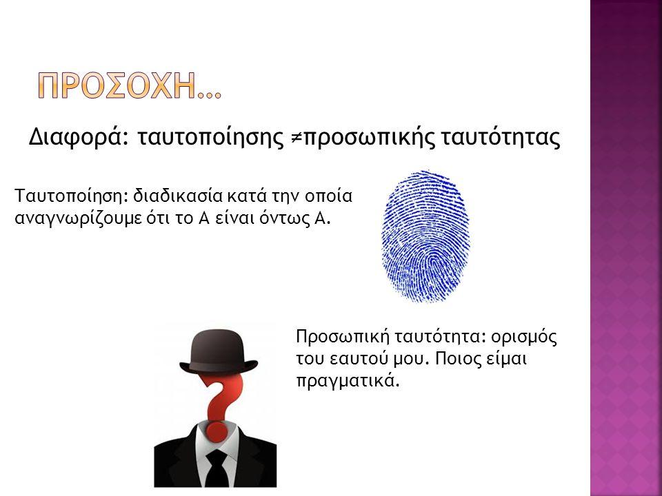 ΠΡΟΣΟΧΗ… Διαφορά: ταυτοποίησης ≠προσωπικής ταυτότητας