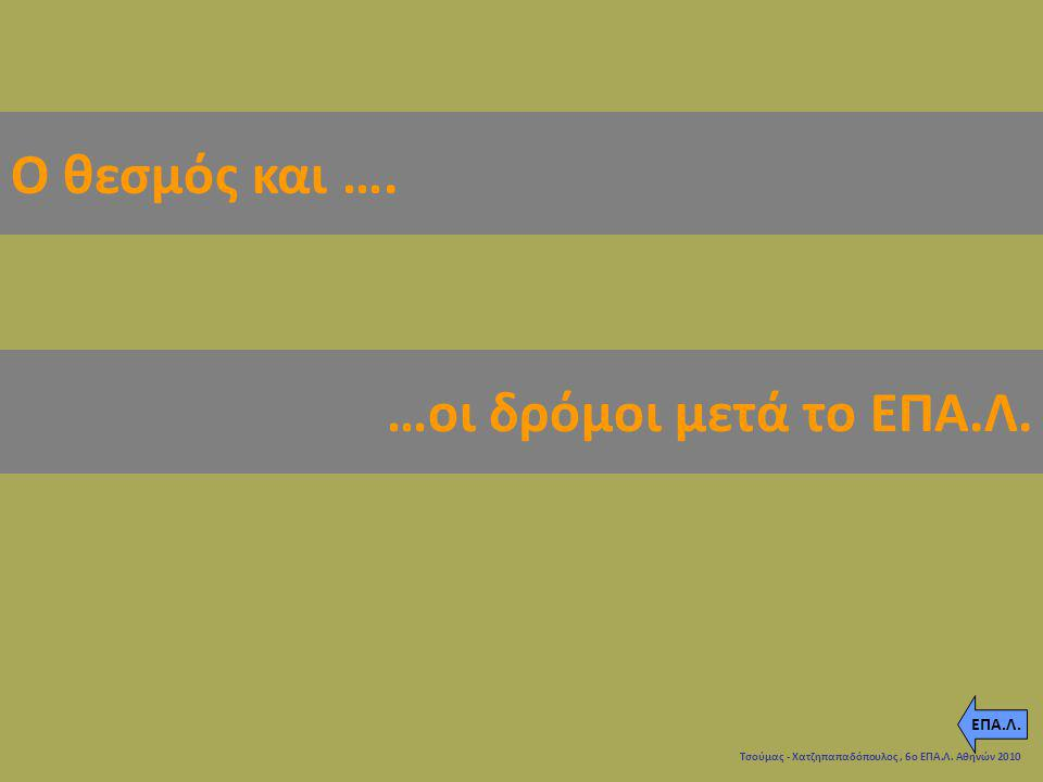 Ο θεσμός και …. …οι δρόμοι μετά το ΕΠΑ.Λ. ΕΠΑ.Λ. ghghfg 5