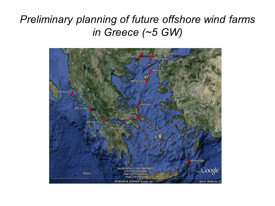 Preliminary planning of future offshore wind farms in Greece (~5 GW)