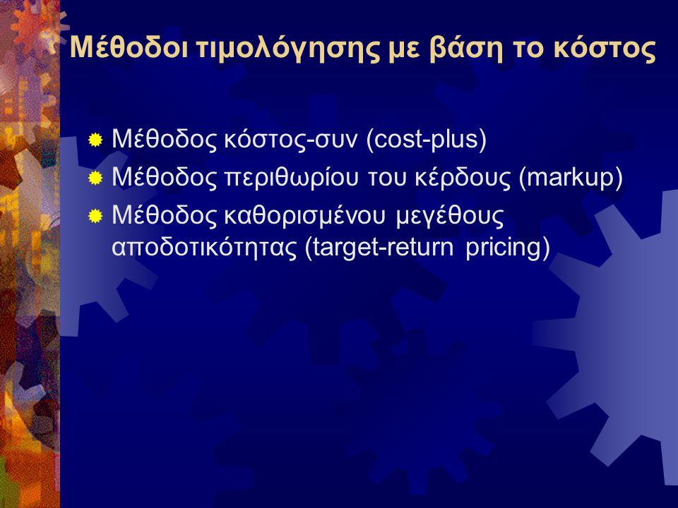 Μέθοδοι τιμολόγησης με βάση το κόστος