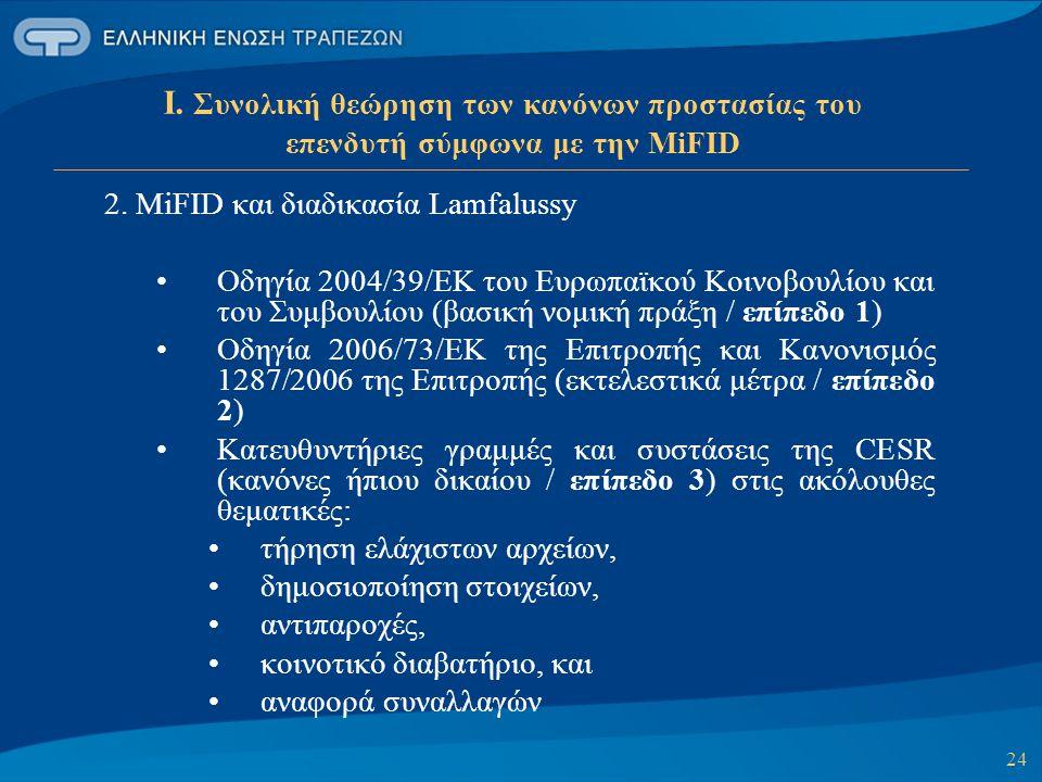 Ι. Συνολική θεώρηση των κανόνων προστασίας του επενδυτή σύμφωνα με την MiFID