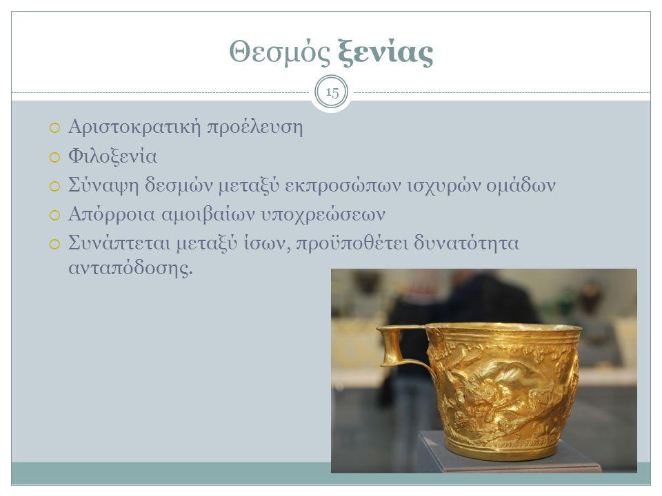 Θεσμός ξενίας Αριστοκρατική προέλευση Φιλοξενία