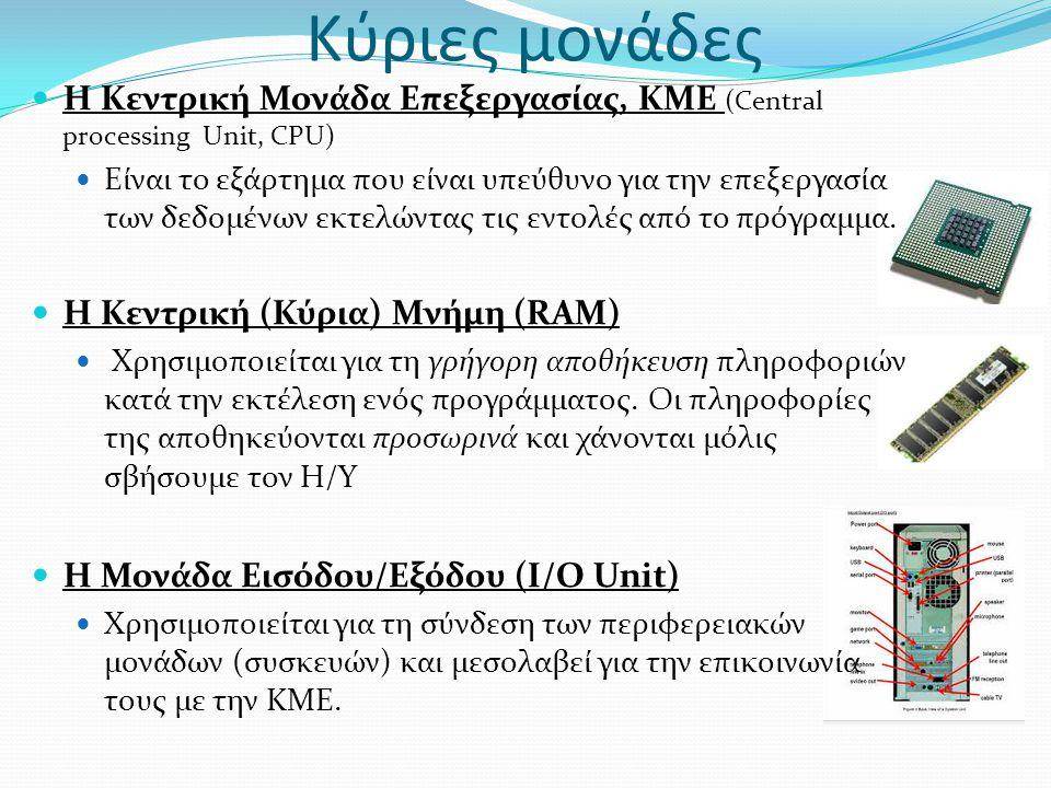 Κύριες μονάδες Η Κεντρική Μονάδα Επεξεργασίας, KME (Central processing Unit, CPU)
