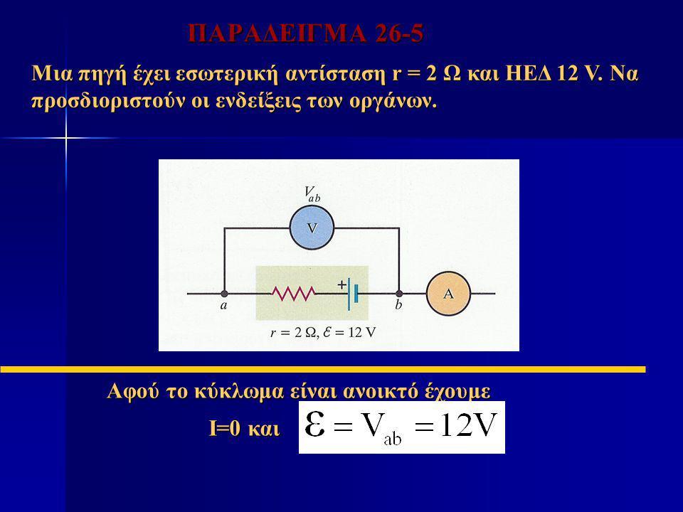 ΠΑΡΑΔΕΙΓΜΑ 26-5 Μια πηγή έχει εσωτερική αντίσταση r = 2 Ω και ΗΕΔ 12 V. Να προσδιοριστούν οι ενδείξεις των οργάνων.