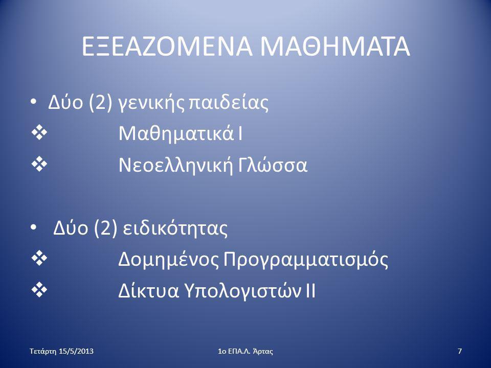 ΕΞΕΑΖΟΜΕΝΑ ΜΑΘΗΜΑΤΑ Δύο (2) γενικής παιδείας Μαθηματικά Ι