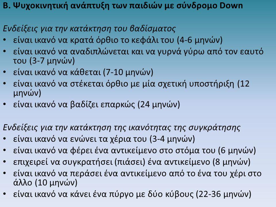 Β. Ψυχοκινητική ανάπτυξη των παιδιών με σύνδρομο Down