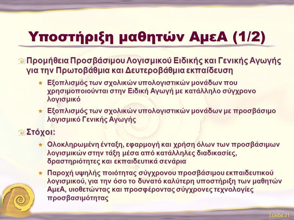 Υποστήριξη μαθητών ΑμεΑ (1/2)