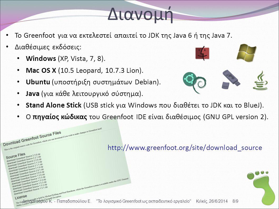 Διανομή To Greenfoot για να εκτελεστεί απαιτεί το JDK της Java 6 ή της Java 7. Διαθέσιμες εκδόσεις: