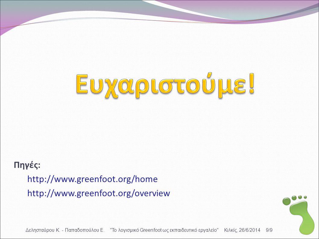 Ευχαριστούμε! Πηγές: http://www.greenfoot.org/home
