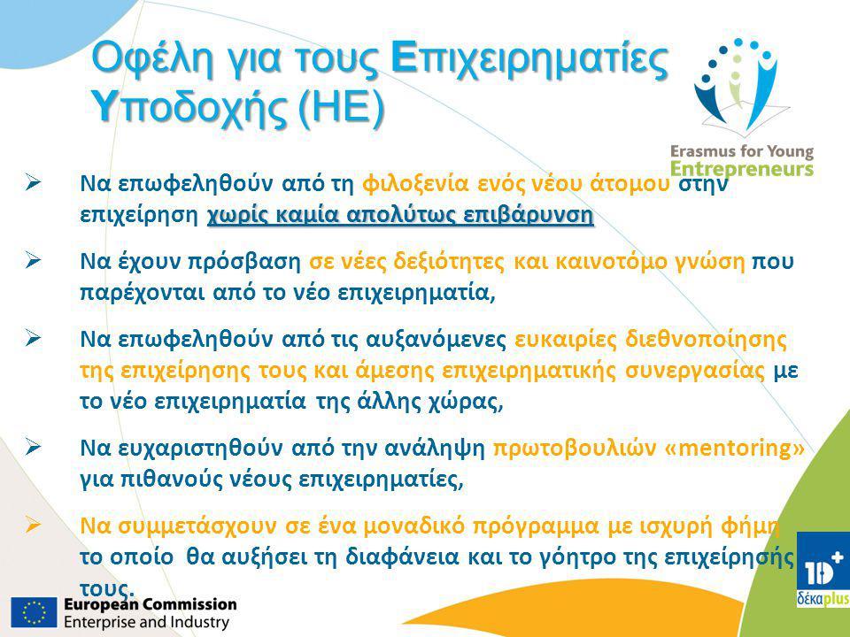 Οφέλη για τους Επιχειρηματίες Υποδοχής (HE)