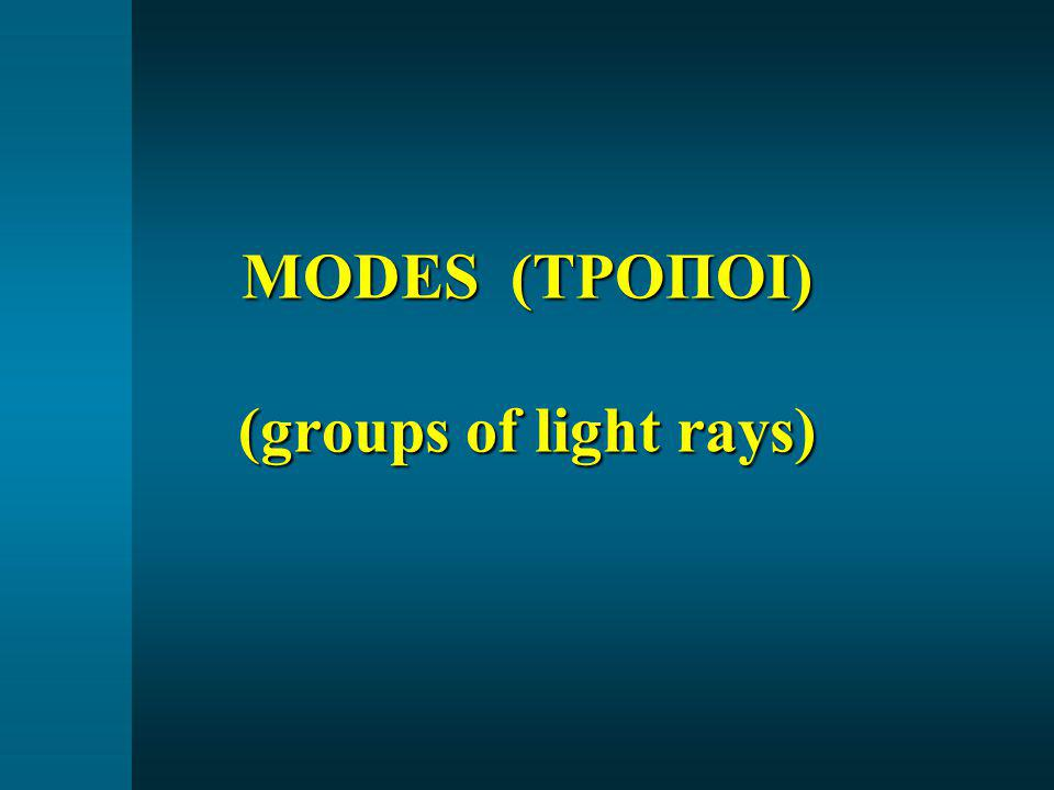 MODES (ΤΡΟΠΟΙ) (groups of light rays)