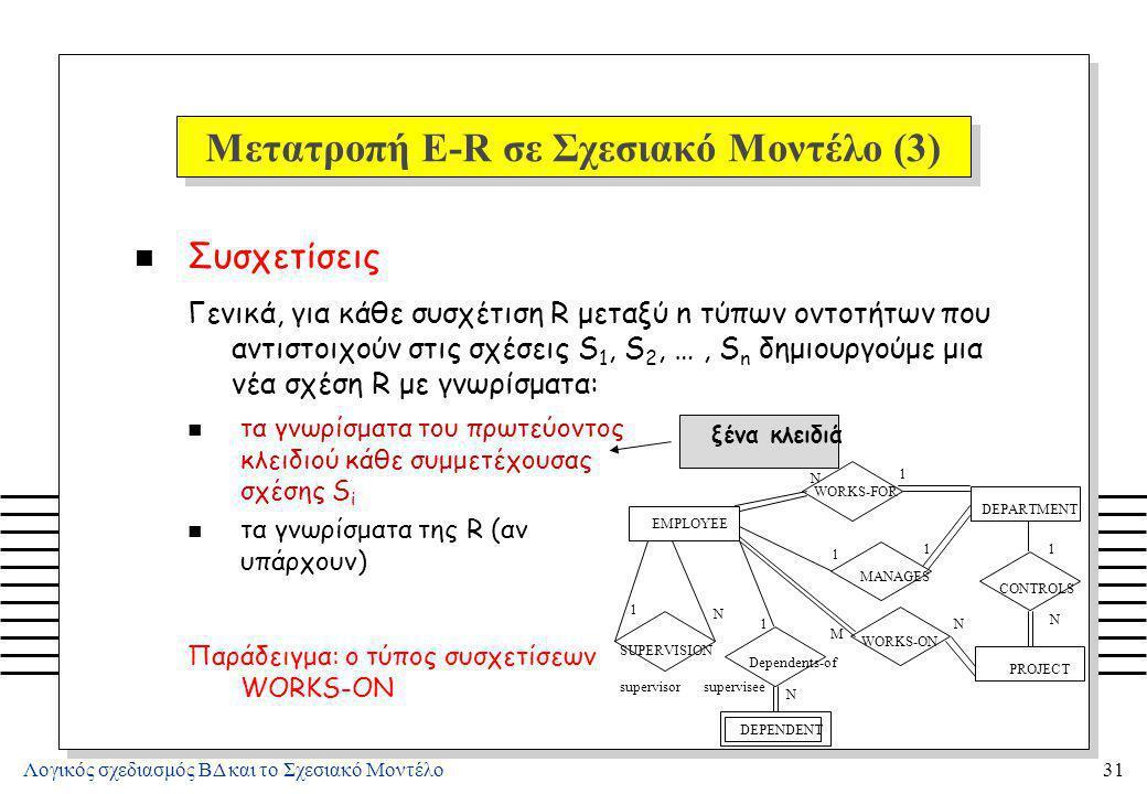 Μετατροπή E-R σε Σχεσιακό Μοντέλο (4)