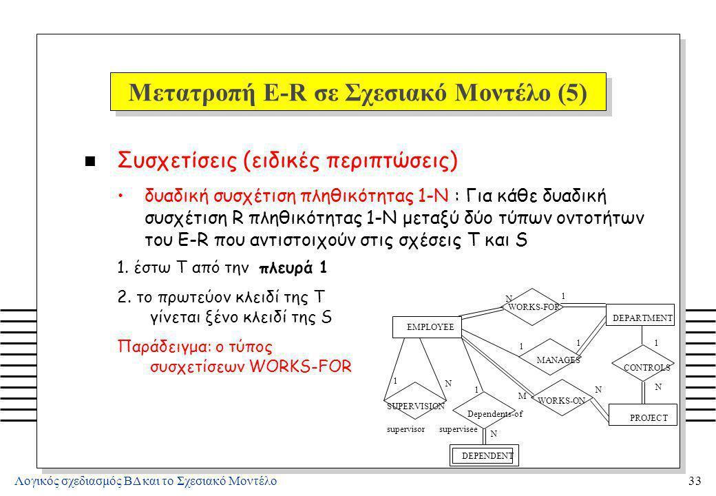 Μετατροπή E-R σε Σχεσιακό Μοντέλο (6)
